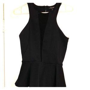 Black peplum sleeveless top